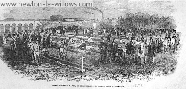 Scene of the Great Draining Match in 1853 on the Burtonwood Estate, with the chimneys of nearby Newton-le-Willows in the background. Courtesy of Warrington Reference Library.