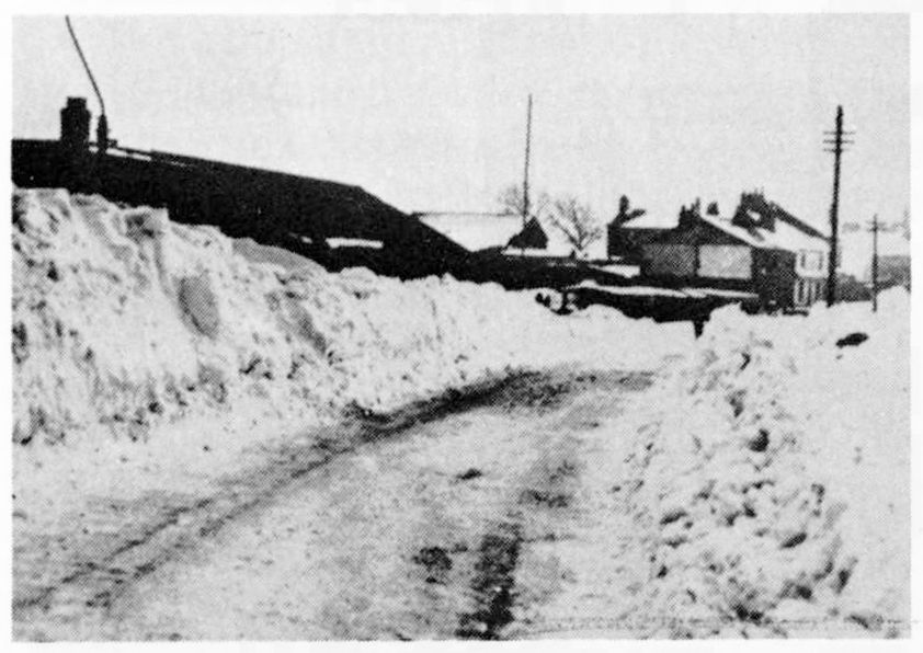 The snow fell thick and fast in the 1940's. This scene is of Chapel Lane looking towards the Elm Tree Inn.