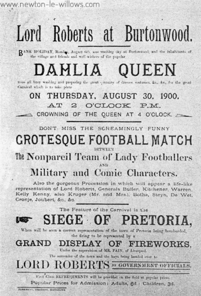 One of the big events in village life many years ago—the crowning of the Dahlia Queen. This poster, dated 1900, was on file at Warrington Reference Library.
